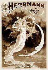 MOON GODDESS NOUVEAU NUDE BEAUTY MAGIC POSTER WOMAN HERRMANN THE GREAT ART PHOTO