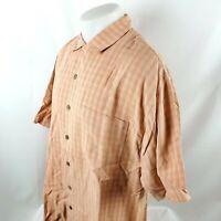 Tommy Bahama Men Button Front Shirt Sz Large Orange Plaid Check 100% SIlk A19-05