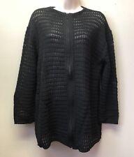 Women's S/M Roni Bis Designer Open Crochet Zip Up Sweater Cardigan Black Cotton