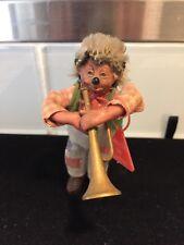 RARE Vintage Steiff Mecki Peter Figure Playing a Trumpet, Green Vest, Austria