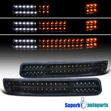 For 1999-2006 GMC Sierra Yukon Glossy Black LED Sequential Signal Bumper Lights