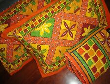 African Style Colorful Orange Yellow Green Pickstitch (3Pc) Quilt Coverlet Set
