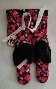Victoria's Secret Signature Satin Slippers Black Floral W/Satin Bag Size 9/10