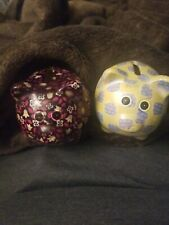 Lot Of 2 Small Pig Shaped Piggy Banks Flowered and design No Stoppers