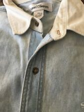 The Shirt Company Xl Chambray Button Down White Collar Elbow Patch San Antonio