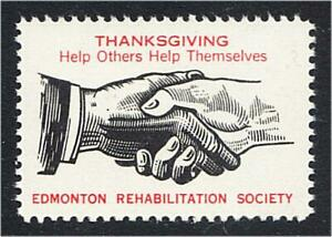 Edmonton Alberta Canada Rehabilitation Society Thanksgiving Seal 1950s Handshake