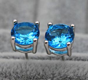18K White Gold Filled - 7MM Noble Round Blue Topaz Cocktail Women Stud Earrings