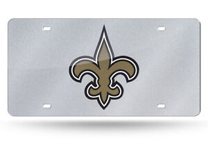 New Orleans Saints Silver Glitter Look 12x6 LASER License Plate Tag