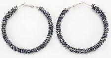 "Bugle bead wrapped endless big huge silver hoop earrings 2.5"" hematite sparkly"