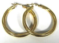 Large Twisted Strand Hoop 9ct Yellow Gold earrings