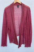 Eileen Fisher Sweater XL Rose Pink Linen Blend Cardigan Open Front Sheer