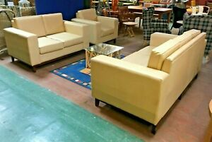 3 PIECE SUITE / 3 SEATER / 2 SEATER / SINGLE ARMCHAIR / VINYL / OFF WHITE (NEW)