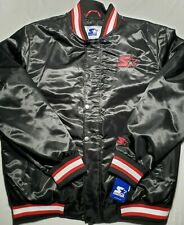 $225 STARTER Retro Mens XL Satin Jacket  SPELLOUT Snap 019MN004 NWT Bomber