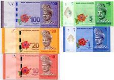 MALAYSIA SET 5 UNC 1 5 10 20 100 RINGGIT 2012 P 50 51 52 53 55 AA PREFIX