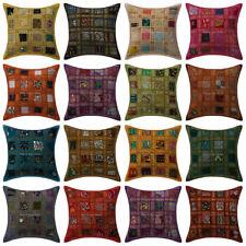 """Indian Patchwork Khambadiya Cushion Covers 16"""" Sofa Decor Indian Pillow Covers"""