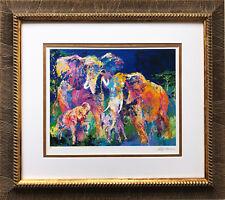 "LeRoy Neiman ""Elephant Family"" CUSTOM FRAMED ART  NEW  Africa Impressionism"
