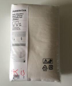 IKEA PUDERVIVA Full Double 100% Linen White Sheet Set + 2 Pillowcases 103.985.18