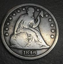 1846 seated Liberty dollar   , VG  details