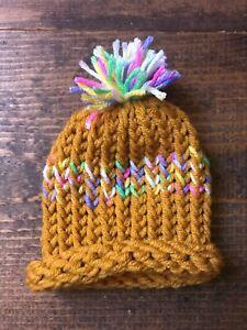 Newborn Baby Winter Hat-Handmade-Yellow-Pom Pom-Fashion-Cap-Beanie-Knit-Rainbow