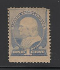 US #212, 1¢ Blue Franklin Sound Mint, Hinge Remnant - CV = $90.00