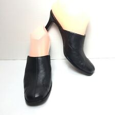 Women's Mootsies Tootsies Black Leather Med Heel Mules Size 6 M