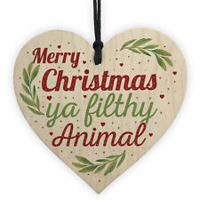 Christmas Filthy Animal Novelty Tree Decoration Wooden Bauble Friendship Gift
