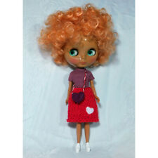 Super Cute Artist Made Blythe Red Valentines Day Outfit and Purple Heart Purse