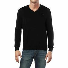 Polo Ralph Lauren Men's V-Neck Sweater Small NWT Black 100% Merino Wool Pullover