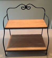 Longaberger Wrought Iron Bakers Rack Two-Tier Two Woodcraft Shelves Excellent!