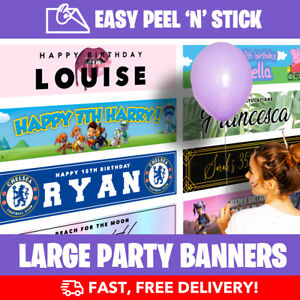 Personalised Birthday Party Banner Large (110cm x 25cm) - Lowest Prices - FAST!
