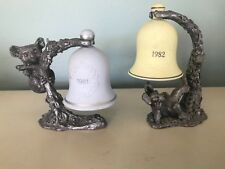 2 Ricker Pewter  Figurines With Bells Signed and Numbered Perfect 1981 1982