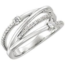 Genuine Diamonds 1/4 ctw Criss Cross Design 14K. Solid White Gold Band Ring sz 7