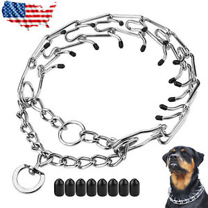 Metal Steel Dog Pinch Prong Choke Chain Collar Training Guardian Gear Adjustable