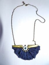 Pretty blue fabric fan and brass accessorize necklace 434-27