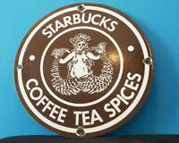 VINTAGE STARBUCKS PORCELAIN COFFEE TEA SPICES BEVERAGE SODA GENERAL STORE SIGN