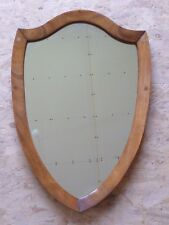 "Vintage Oak Wood Framed Shield Shaped Wall Mirror - 23.25 x 16"" or 59 x 40.5 cm"