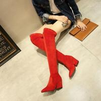Women Thigh High Boots Over The Knee Party Stretch Block Mid Heel Shoes Fashion