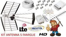 KIT ANTENNA DIGITALE TERRESTRE PER 5 FAMIGLIE LTE HD IMPIANTO ANTENNA COMPLETO