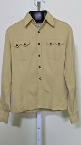 Mens Retro Cad Zoots Gabardine Western Cowboy Shirt Smile Pockets Like New Made in USA LargeXL