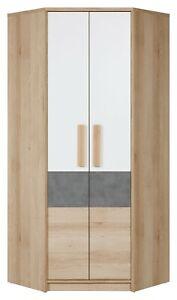 Aygo Corner Wardrobe with Shelves and 2 Hanging Rails in White & Oak & Grey