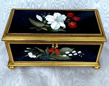 Pietra Dura Large and Rare Antique Box Fabulous  Decor 19CT