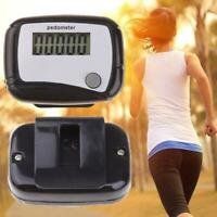 LCD Pedometer Step Walking Jogging Hiking Calorie Counter Distance Fitness Black