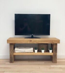 Solid wood TV stand with two drawers