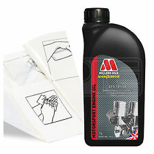 Engine Oil Top Up 1 LITRE Millers CFS 10w-40 full synth 1L +Gloves,Wipes,Funnel