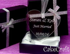 Engraved Personalised Wedding, Birthday  Acrylic love heart,keepsake gift in box