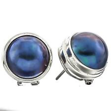 """9/16"""" 12MM OPULENT SOUTH SEA BLUE MABE PEARL 925 SILVER OMEGA POST earrings"""