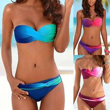 Womens Ladies Gradient Push Up Padded Bikini Set Swimming Swimwear Beach Bathing