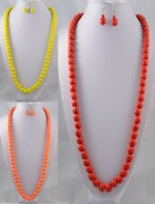 """RED, ORANGE OR YELLOW 32"""" LONG WOOD 12mm BEAD NECKLACE AND EARRINGS SET"""