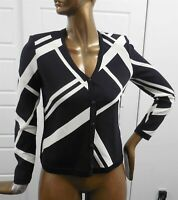 St John Collection Black White Santana Knit Cardigan Sweater Jacket sz 6 USA