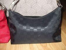 Dkny black nylon signature lined handbag purse baguette removable straps